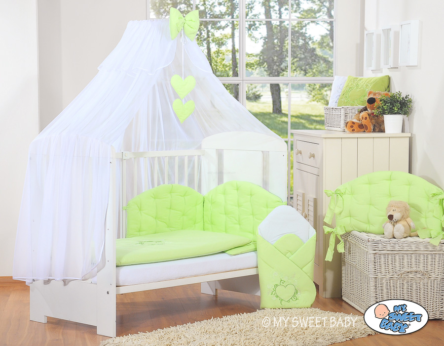 my sweet baby bettw sche set 5 tlg with moskito netz chic gr n. Black Bedroom Furniture Sets. Home Design Ideas