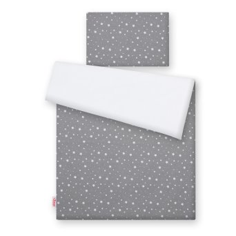 Stars White /& Grey 4 Piece Duvet Covers Cot Bed Bedding Set 120x90cm
